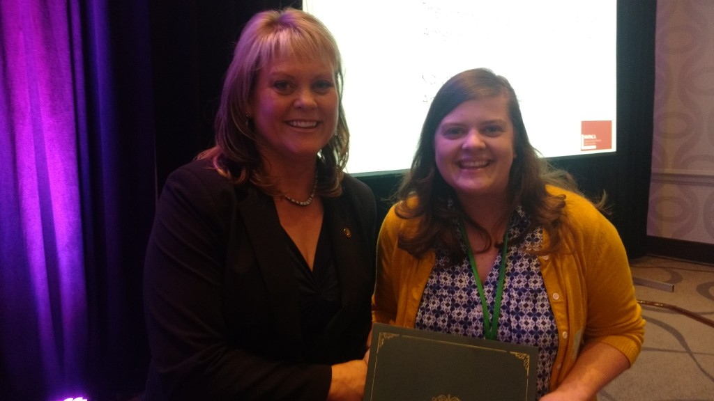 "Kalyn Price, graduate student at Abilene Christian University, receives the Graduate Paper Award for Historic and Contemporary Cultures from Lynnea Chapman King, Executive Director of SWPACA, for her paper, ""We Hold These Truths to be Self-Evident: The Intertextual Appeal of Hamilton: An American Musical."""